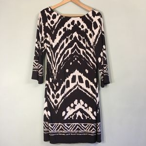 Enfocus Studio Brown & Cream Print Dress